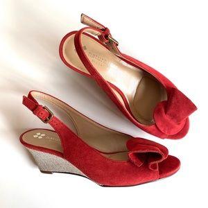 ❤️NWOB NATURALIZER Suede Peep Toe Wedges Red 5❤️